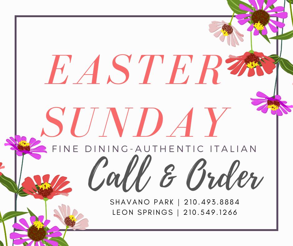 Scuzzi's Italian Restaurant Easter Sunday Call & Order